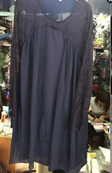 Chiffon Stitching Lace Long-Sleeved Fat MM Plus Size Mid-Length Dress