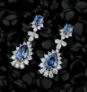Retro Royal Blue Drop Earrings