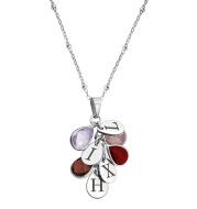 12 water drop birthstone gemstone necklace tricolor
