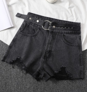 Women's Loose Denim Shorts With Ripped Holes