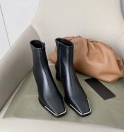 Net Red Wild Plus Velvet Thin Boots Thick Heel Short Boots