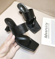 Square Toe Fashionable Outer Wear Open-toed Flip-flops High-heeled Sexy Sandals And Slippers