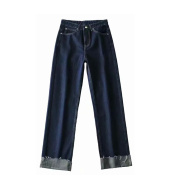 Dark Blue Curled Edge Top Line Loose And Thin Wide-leg Trouser