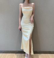 Fashion Slim Dress With Split Ends Temperament Long Skirt