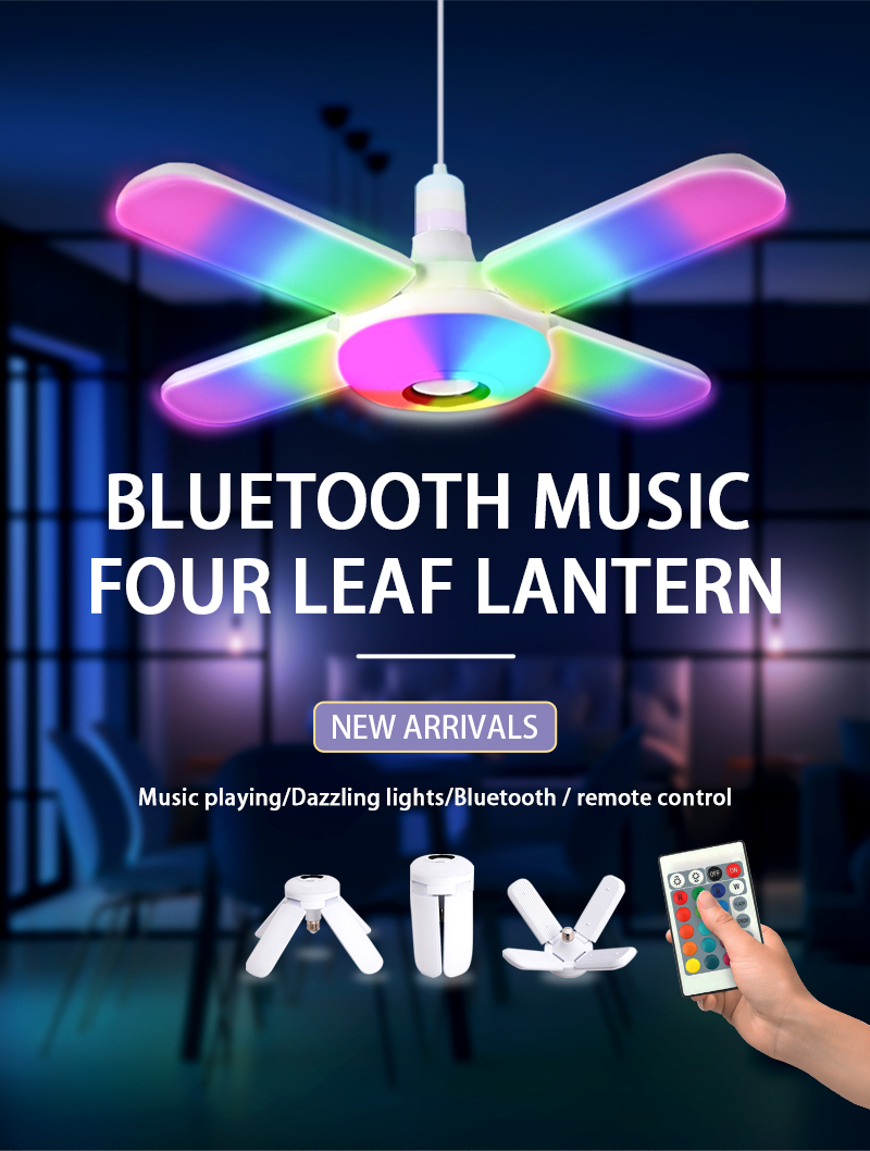 LED Four-leaf Bluetooth Music Lamp Colorful Intelligent Audio Folding Bulb Lamp Remote Control Deformable Ceiling Fixture Lights