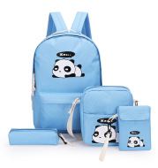 Large-capacity College Style Printed School Bag Four-piece Travel Bag
