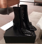 2020 Winter New Metal Buckle Square Toe Sleeve High Heel Elastic Thick Heel Bright Leather Boots
