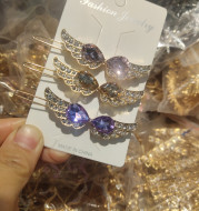Korean Angel Wings, Purple Crystal Glass Frog Buckle, Large Amount Of Side Hairpin, Excellent