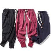 Men's Japanese Cotton And Linen Elastic Plus Size Casual Pants