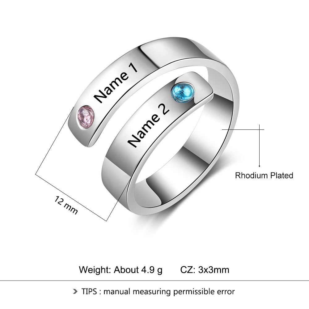 Personal Ring Custom Engraved Name Birthstone Ring