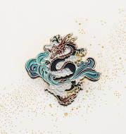 Chinese Dragon Ride The Wind And Waves Original National Wind Commemorative Brooch Creative Metal Badge Gift