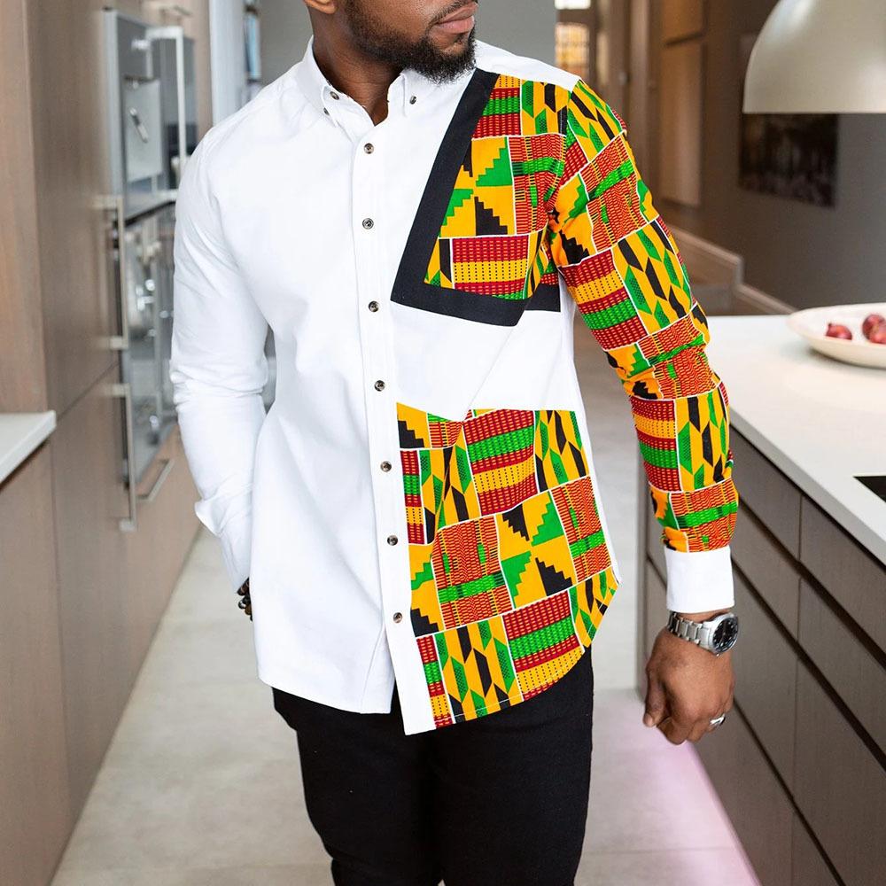 Chemise Africaines - Tissu de coté avec bande Noir
