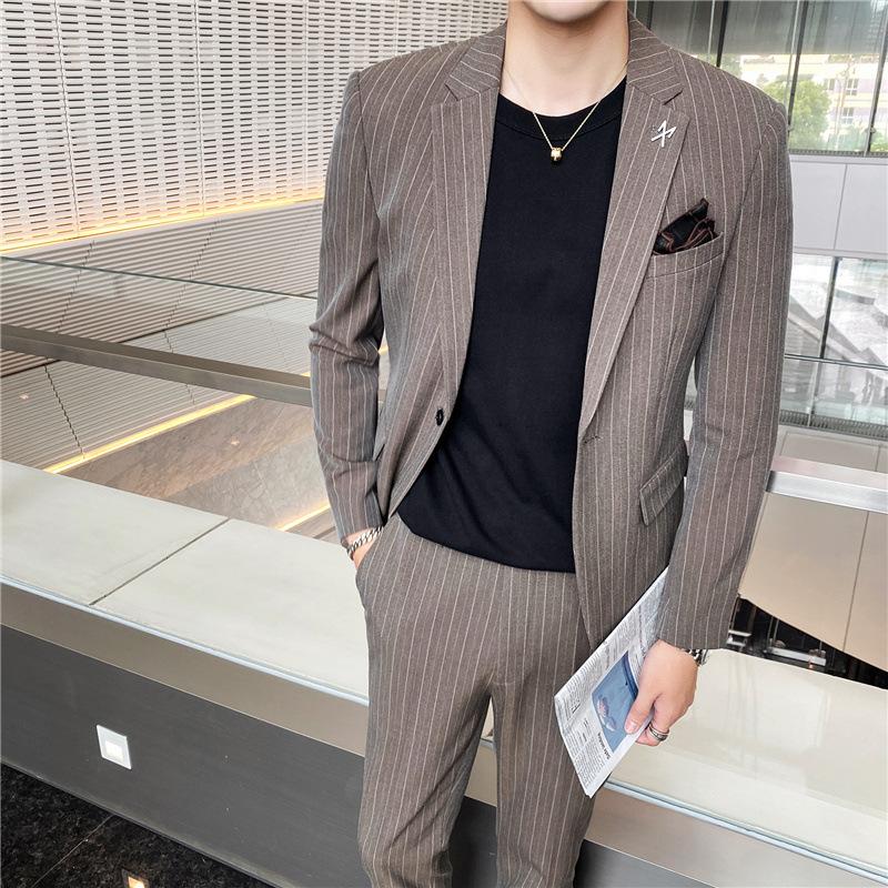Men Casual Formal British Plaid Suit