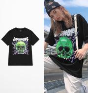 Creative Cotton Skull Print Round Neck Short Sleeves