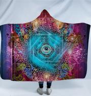 Geometric Mandala 3D Digital Printing Thick Huggle Hoodie Blanket Adult Cloak
