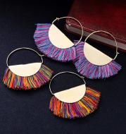Ethnic Style Circle Handmade Creative Tassel Earrings