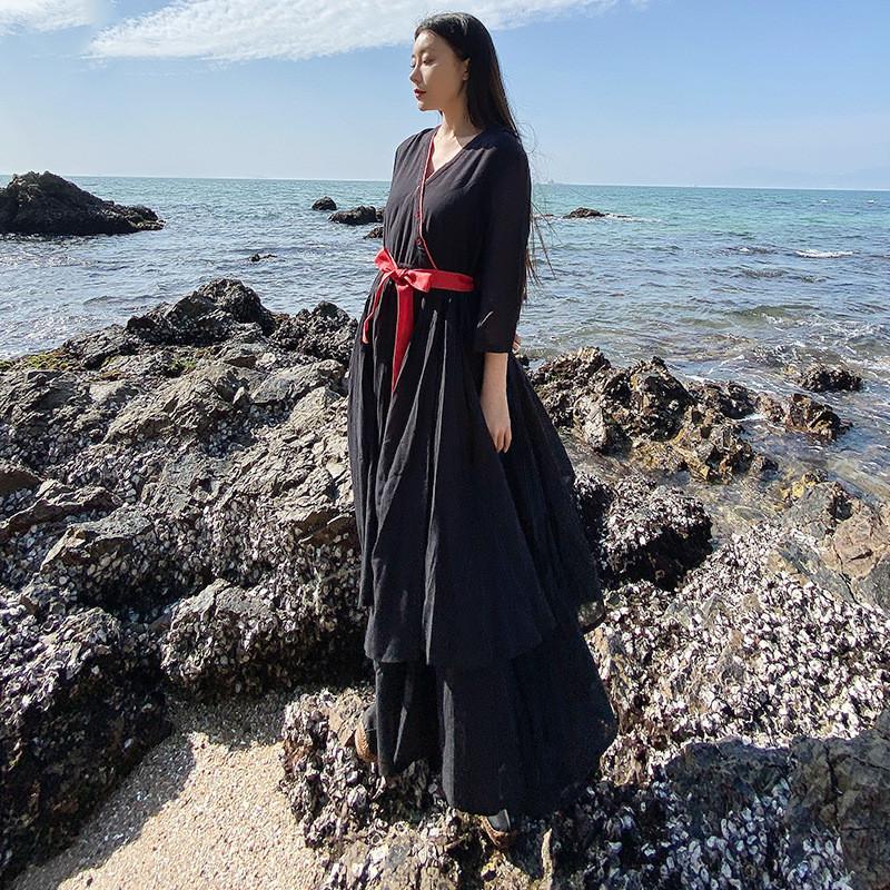 Temperament Big Swing Skirt Literary Retro French Dress