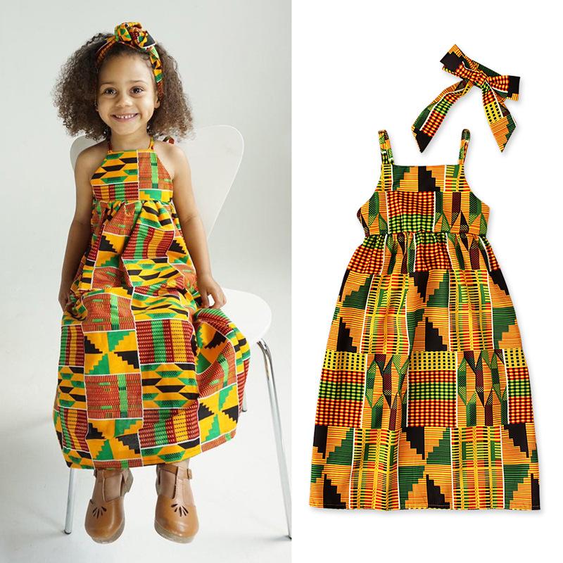 Robe africaine bohème à bretelles pour enfant