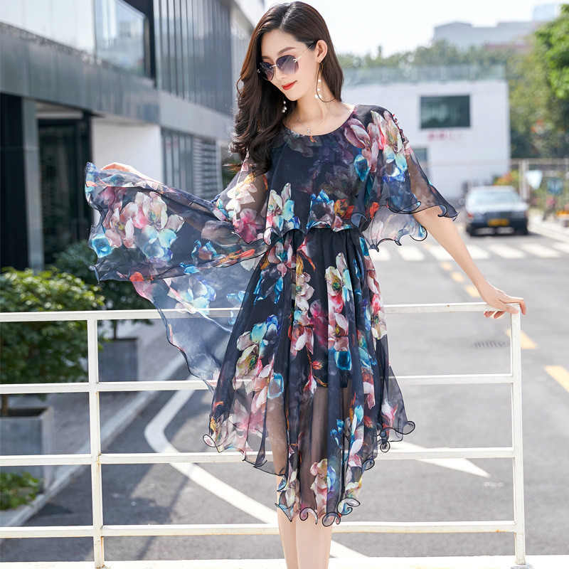 Seaside Vacation Female Summer Floral Plus Fertilizer Plus Chiffon Dress