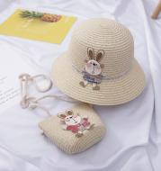 Cute Rabbit Decoration Bag Two-Piece Straw Hat