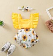 Girls Sling Sunflower Bee Lace Off-Waist Jumpsuit