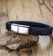 European and American Personality Titanium Steel Braided Leather Rope Bracelet