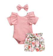 European And American Foreign Trade Lotus Leaf Sleeve Baby Romper Suit Summer New Style Kids Print Shorts