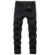 Zipper Ripped Jeans Trousers Zipper Men's Denim Stretch Trousers