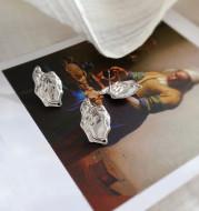 Color Preserving Copper Irregular Square Oval Water Wave Stud Earrings Irregular Square Pendant DIY Earring Material
