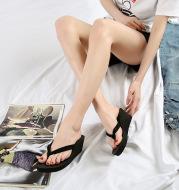 Summer Women's Thick-soled Korean Style Double Belt High-heeled Flip-flops