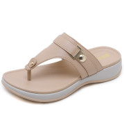 Slippers Female Metal Buckle Sporty Wedge Heel Large Size Light Sandals