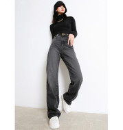 Jeans Women's High Waist Straight Wide Leg Pants  Spring New Smoke Gray Loose Draping Mopping Pants