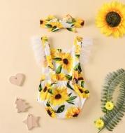 Beachwear Ruffled Sunflower Print Jumpsuit Pullover And