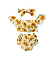 Girl Sunflower Print One-Shoulder Top Triangle Shorts Suit