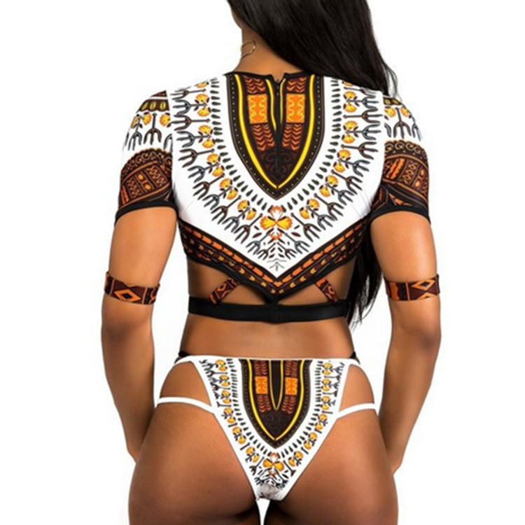 New Style Swimsuit Ladies Multi-strap Lace Ethnic Print Half-sleeved Sexy Split Bikini