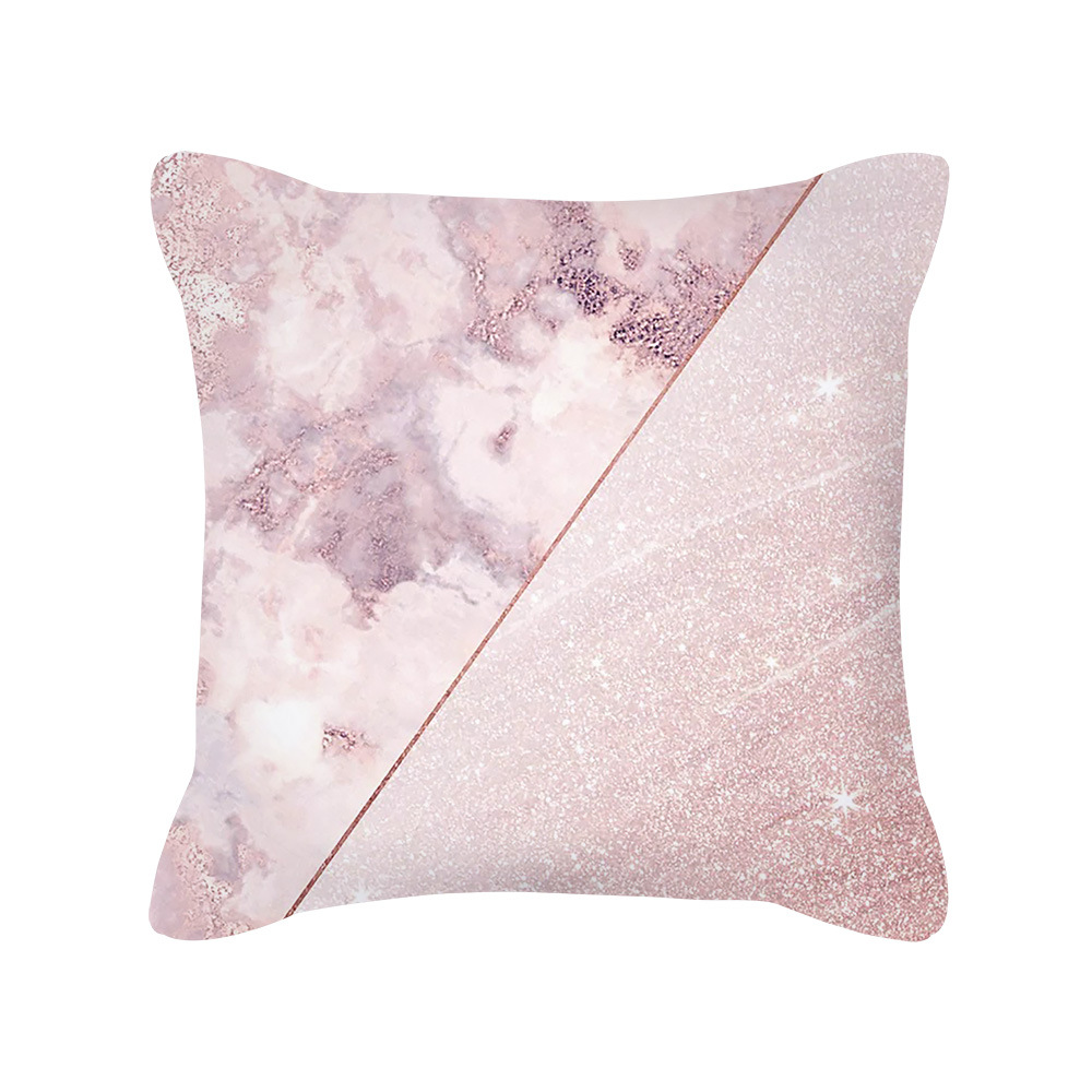 Nordic Style Rose Gold Pink Geometric Square Pillow Cushion Cover