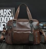 Classic Crazy Horse Leather Men's Bag, Casual Shoulder Crossbody Portable Travel Bag, Large Capacity Men
