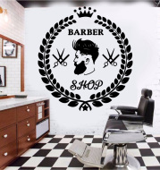 Wall-Stickers-Accessories Decor Barber-Shop Decal Mural for Art