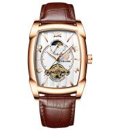 Watch Men's Barrel Tourbillon Leather Mechanical Watch