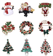 Santa Claus Christmas Tree Brooch, Retro Alloy Clothes, Shoes, Hats, Accessories, Brooches, Jewelry Pins