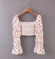 French Retro Short Strawberry Print Puff Sleeve Top