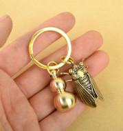 Brass Five Emperor Money Gourd Keychain Pendant