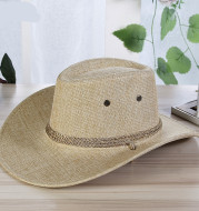 Men's linen Solid Color Cool Western Cowboy Male Cycling Hat Accessories Sunscreen