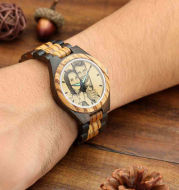 Mens Engraved Wooden Photo Watch Wooden Strap