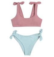 2021 New Swimwear European And American Solid Color Split Swimsuit Women