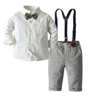 Boys Bib Solid Color Shirt Long-Sleeved Two-Piece Suit