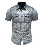 Denim Short Sleeve Shirt Men