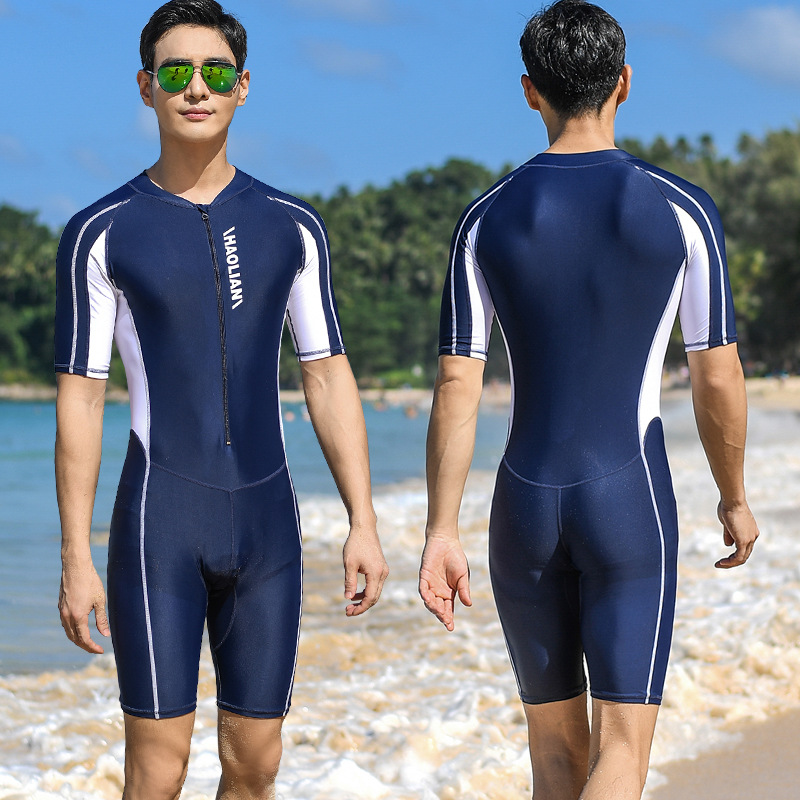 One-Piece Swimsuit Short-Sleeved Five-Point Sports Surfing Suit Men