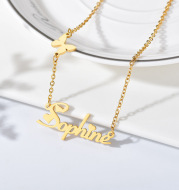 Fashion Custom Stainless Steel Name Necklace with Butterfly for Women