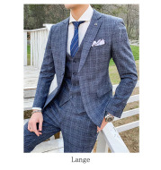 Korean Slim Men's Check Three-piece Customized Wedding Banquet Dress Groom Men's Suit